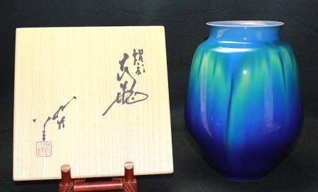 22806 人間国宝 3代徳田八十吉 (燿彩花瓶) TOKUDA Yasokichi