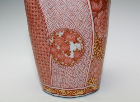 22227 人間国宝 福島武山(赤繪小紋手徳利)FUKUSHIMA Buzan