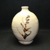22235 浜田庄司(鐡釉草繪花瓶)HAMADA Syoji