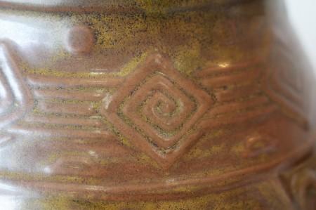 23663 帝室技芸員 陶聖 板谷波山 (茶葉瓷印甸亜文花瓶(大正5年) ITAYA Hazan
