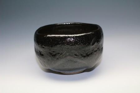 22365 九代 大樋長左衛門「松風」(黒茶碗[鵬雲斎])OHI Cyozaemon