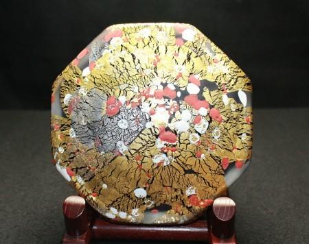 22388 藤田喬平(手吹飾筥[紅白梅])FUJITA Kyohei