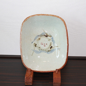 23988 河井寛次郎 (草花文鉢(紅葩識)) KAWAI Kanjiro
