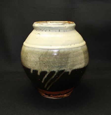23130 人間国宝 浜田庄司 (掛合釉花瓶) HAMADA Syoji