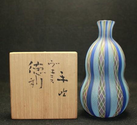 23744  藤田喬平 (手吹ヴェニス徳利) FUJITA Kyohei