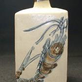 22527人間国宝 金城次郎 (海老文角瓶) KINJO Jiro