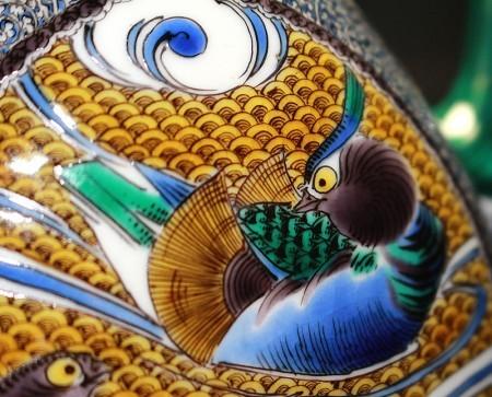 22577 宮本忠夫 (九谷色絵鴛鴦文仙盞瓶) MIYAMOTO Tadao