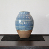 23889  バーナード・リーチ (染付彫文鳥絵花瓶(晋作識 1970年頃制作))