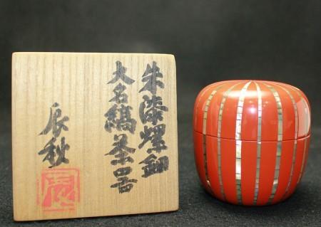 24469  人間国宝 黒田辰秋 (朱漆螺鈿大名鎬茶器) KURODA Tatsuaki