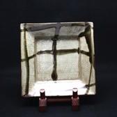 23317  人間国宝 島岡達三 (地釉象嵌縄文角皿) SHIMAOKA Tatsuzo