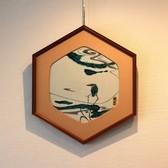 23164 人間国宝 藤本能道 (色絵陶額 かわせみ図) FUJIMOTO Yoshimichi
