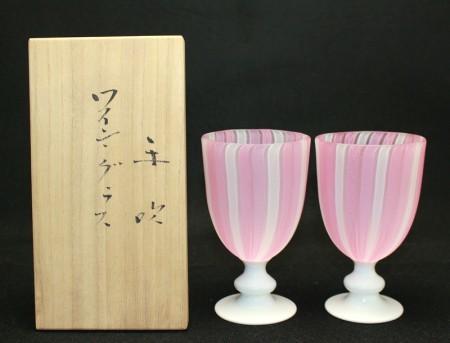 23352  藤田喬平 (手吹 ワイングラス(ピンク)) FUJITA Kyohei