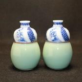 23979  真葛香山 (青磁釉祥瑞酒瓶) MAKUZU Kozan