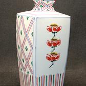 24036 人間国宝 富本憲吉  (色繪角瓶(昭和28年)  TOMIMOTO Kenkichi
