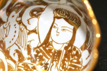 24011 人間国宝 加藤卓男 (ラスター彩胡姫文酒杯(安藤箱)) KATO Takuo