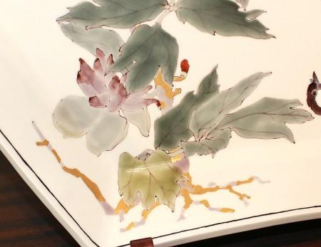 22356  武腰潤  (牡丹の絵六角絵皿)  TAKEGOSHI  Jun