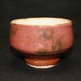 22813 河井寛次郎 (辰砂茶碗(紅葩識)) KAWAI Kanjiro