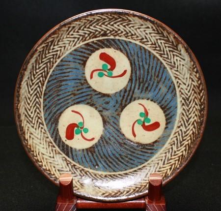22778  島岡達三 (象嵌赤繪草花文繪変組皿 6枚) SHIMAOKA Tatsuzo