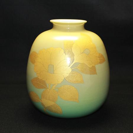 22800 人間国宝 吉田美統 (釉裏金彩椿文花瓶)YOSHIDA Minori