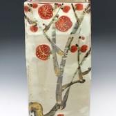 21835 5代加藤幸兵衛 (紅梅文四方花瓶) KATO Kobei