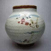 No.15826 河井寛次郎 (草花図壷 紅葩識)