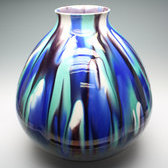 20713 三代 徳田八十吉(彩釉花瓶)TOKUDA Yasokichi