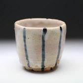 20889 荒川豊蔵[達識](染付ムギワラ酒盃) ARAKAWA Toyozo