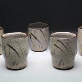 20905 西岡小十(絵唐津湯呑茶碗[5客])NISHIOKA Kojyu